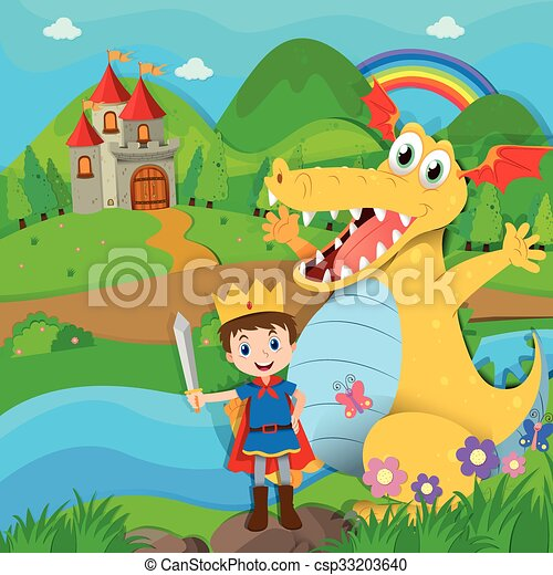 Knight and dragon on the fairy land - csp33203640