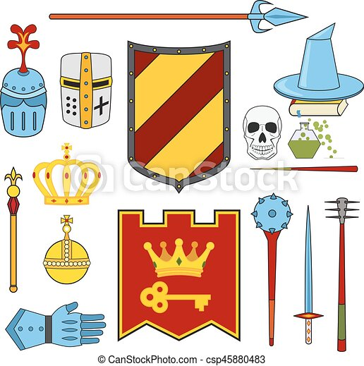 Knight and magic set - lance, shield, knights, helmets - csp45880483