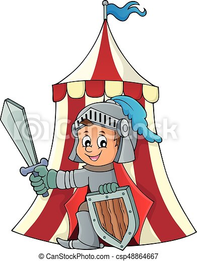 Knight by tent theme image 1 - csp48864667