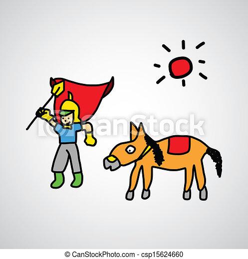 Knight cartoon sketch - csp15624660