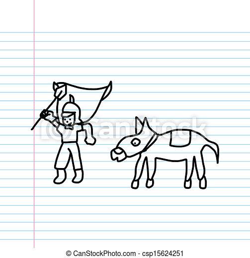 Knight cartoon sketch - csp15624251