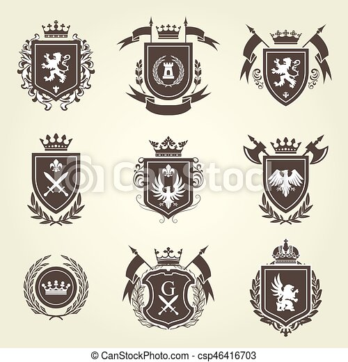 Knight coat of arms and heraldic shield blazon - csp46416703