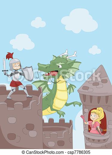 Knight Fighting a Dragon - csp7786305