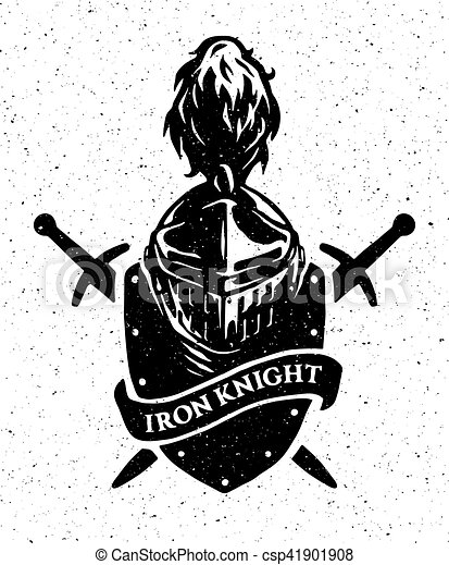 Knight helmet on a background of the shield and swords. - csp41901908