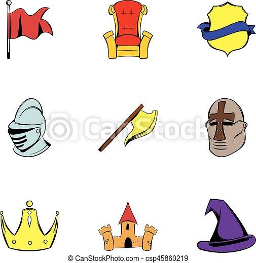 Knight icons set, cartoon style - csp45860219