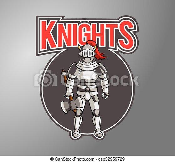 Knight Illustration design badge - csp32959729