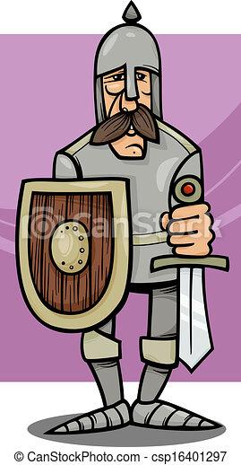 knight in armor cartoon illustration - csp16401297