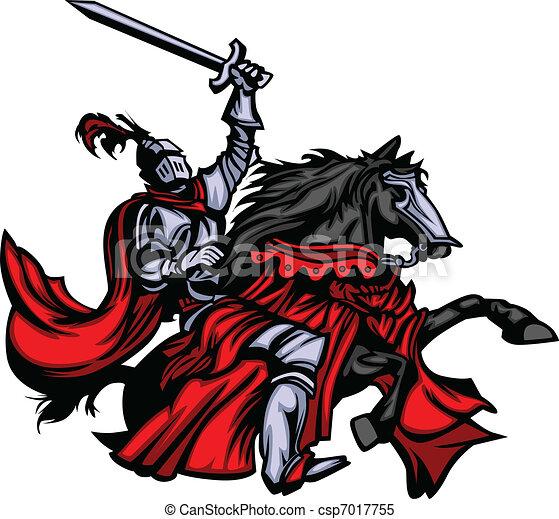 Knight Mascot on Horse - csp7017755