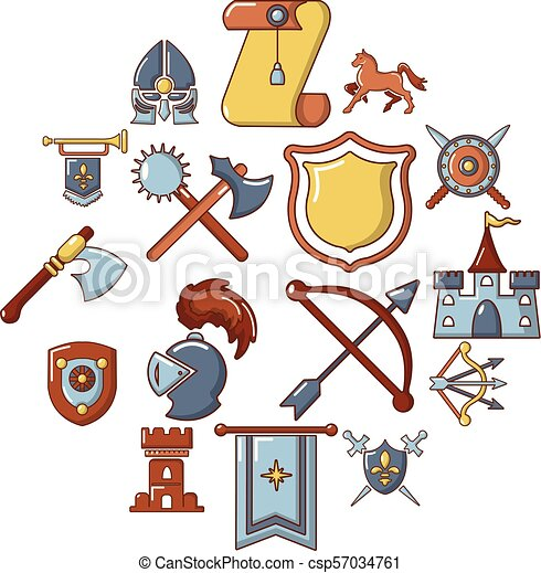 Knight medieval icons set, cartoon style - csp57034761