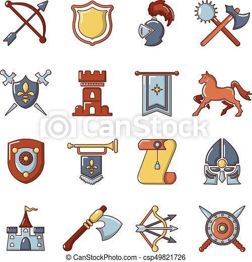 Knight medieval icons set, cartoon style - csp49821726
