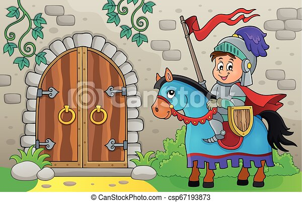 Knight on horse by old door theme 1 - csp67193873