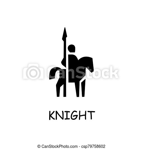 Knight on horse flat vector icon - csp79758602