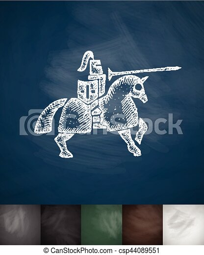 knight on horse icon. Hand drawn vector illustration - csp44089551