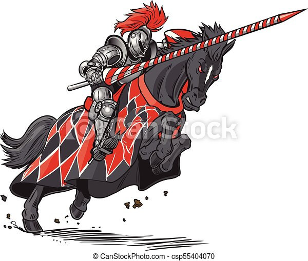 Knight on Horse Jousting Vector Cartoon - csp55404070