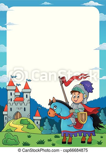 Knight on horse theme frame 1 - csp66684875
