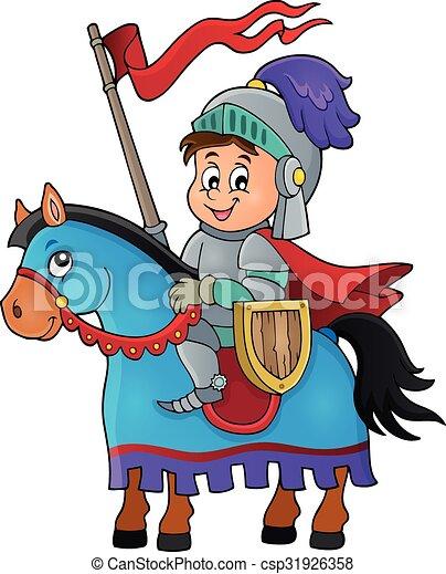 Knight on horse theme image 1 - csp31926358