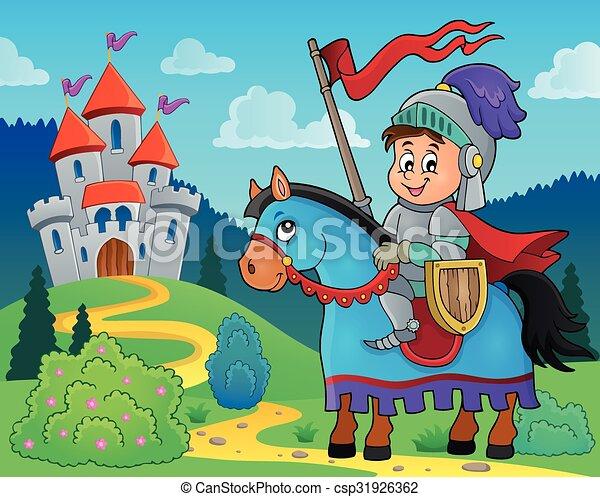 Knight on horse theme image 2 - csp31926362