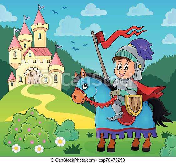 Knight on horse theme image 4 - csp70476290