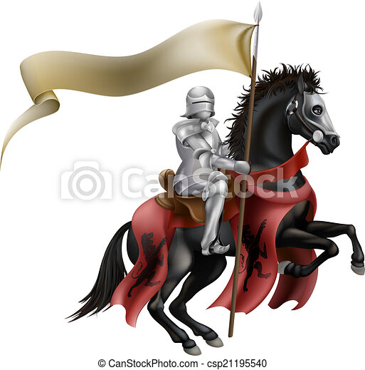 Knight on horse with flag - csp21195540