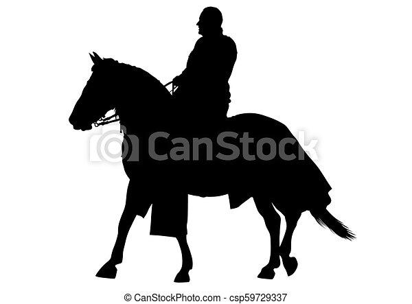 Knight on horseback one - csp59729337