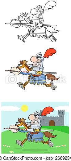 Knight Riding Horse-Collection - csp12669234