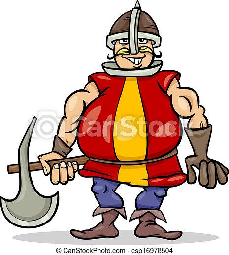 knight with axe cartoon illustration - csp16978504