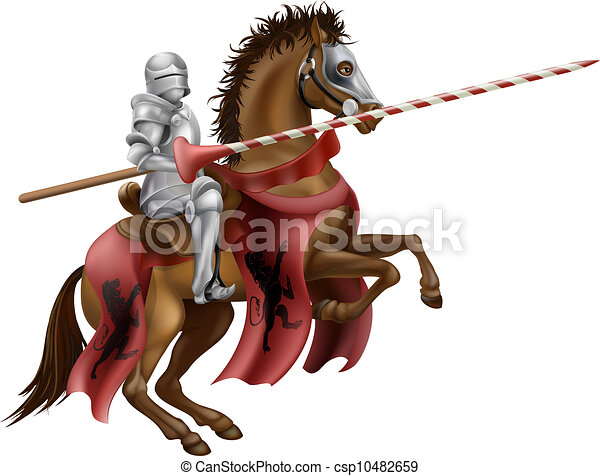 Knight with lance on horse - csp10482659