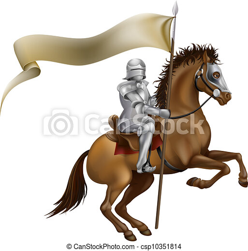 Knight with spear and banner - csp10351814