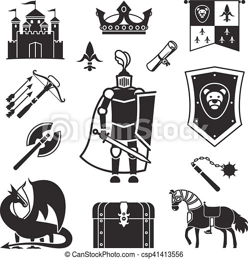 knighthood in middle ages icons medieval ancient armor and rh canstockphoto com Medieval Ages middle ages church clipart