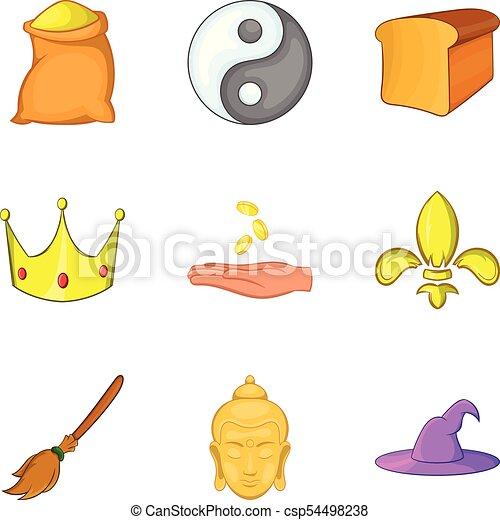 Knightly icons set, cartoon style - csp54498238