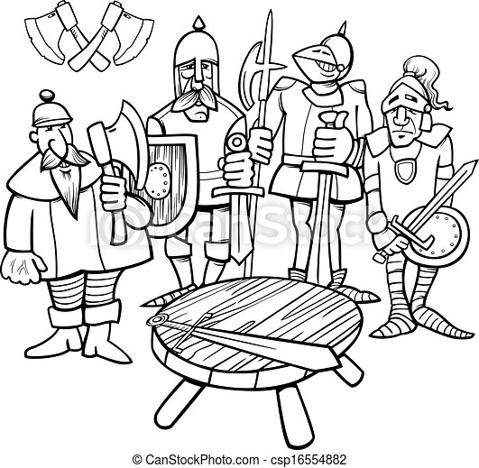 knights of the round table coloring page - csp16554882