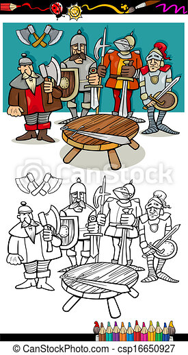 knights of the round table coloring page - csp16650927