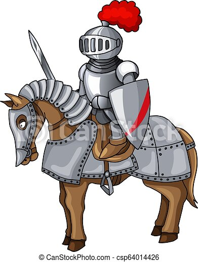 Knights suit body protection armor with sword and shield cartoon ...