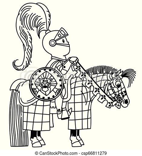 El esquema del jinete de Cartoon Knigth - csp66811279
