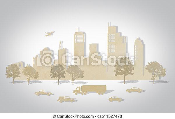 knippen, auto, boompje, schaaf, papier, steden - csp11527478