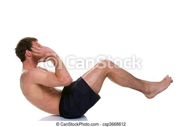 knirschen, nippen, magen, auf, mann - csp3668612