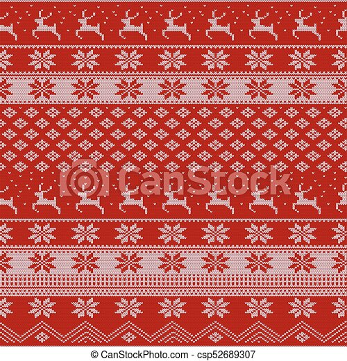 Christmas Sweater Pattern.Knitted Christmas Sweater Pattern With Deers Fir Trees Snowflakes Winter Fabric Background
