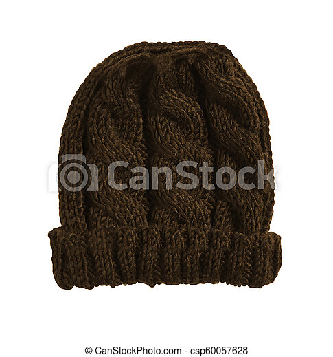 knitted hat isolated on white background - csp60057628