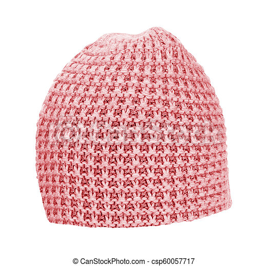 knitted hat isolated on white - csp60057717