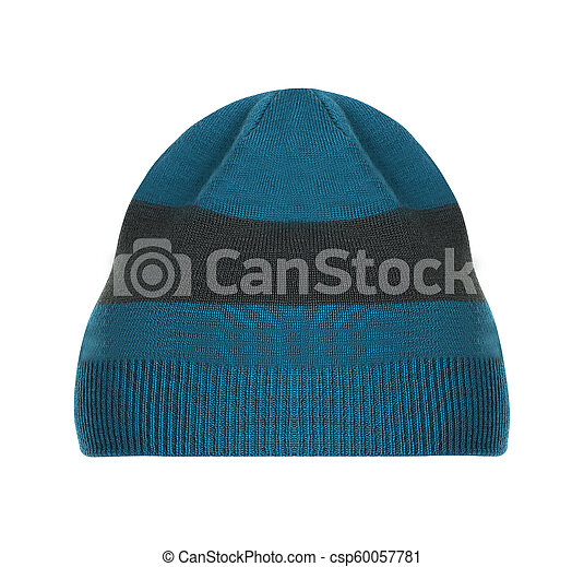 Knitted hat isolated on white - csp60057781