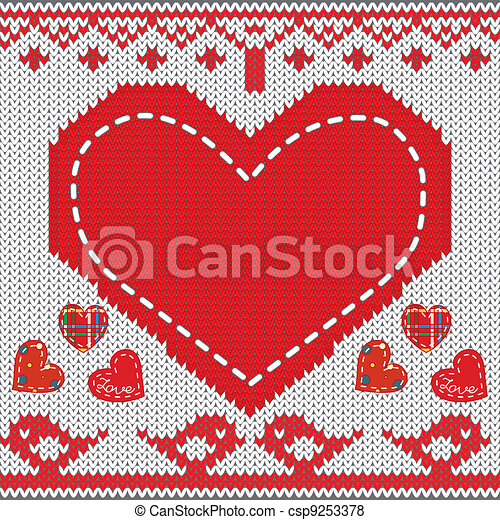 Knitted Heart Knitted Pattern With Heart Birds In Love Vector