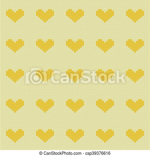 Knitted Hearts Seamless Pattern Yellow Knitted Hearts Seamless