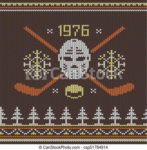 Knitted hockey logo - csp51784914