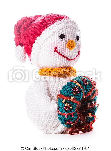 Knitted Snowman With Christmas Wreath Isolated On White