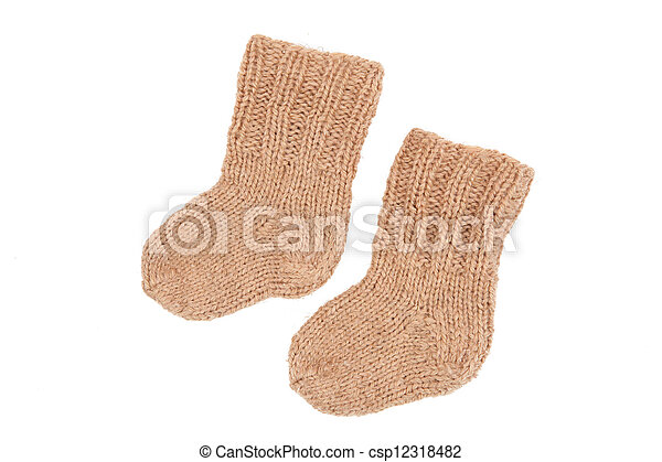 knitted socks made of wool on a white background - csp12318482