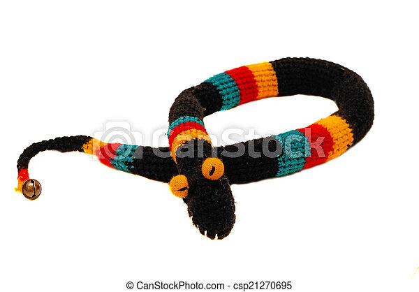 Knitted toy snake black with bright strips - csp21270695