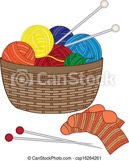 Knitting, basket with wool balls - csp16264261