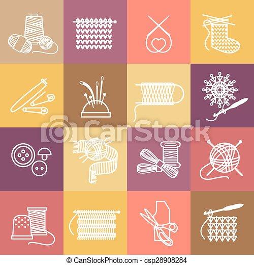 Knitting icons set - csp28908284