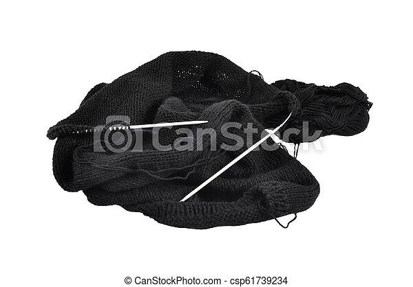Knitting on white background - csp61739234