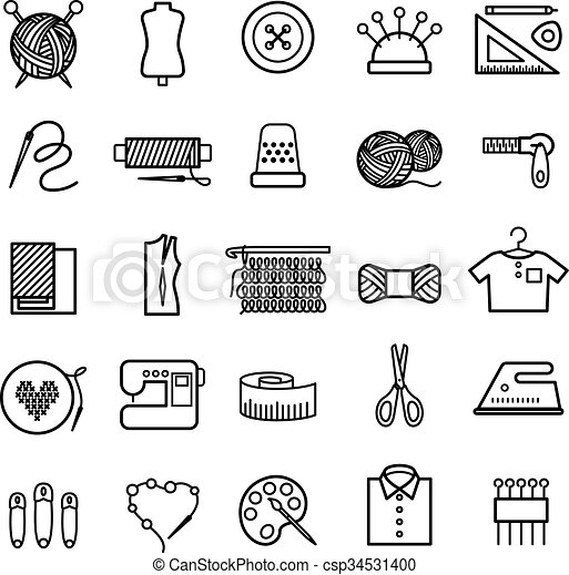 Knitting, sewing and needlework icons - csp34531400
